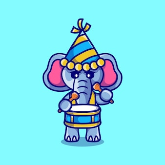 かわいい象が太鼓を演奏して新年を祝う