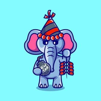 かわいい象は爆竹と爆弾で新年を祝います
