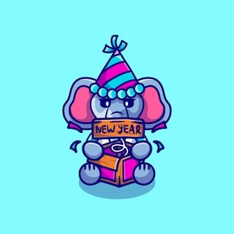 かわいい象がジョークサプライズボックスで新年を祝う