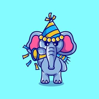 かわいい象がトランペットを吹いて新年を祝う