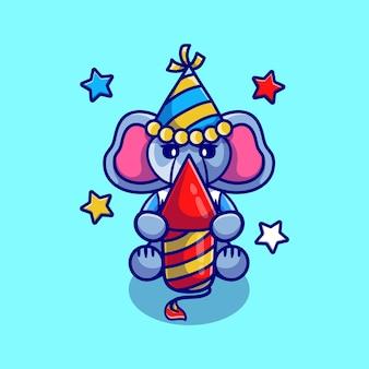 Милый слоник празднует новый год с ракетой фейерверка