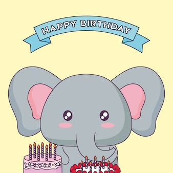 Cute elephant celebrating party kawaii character