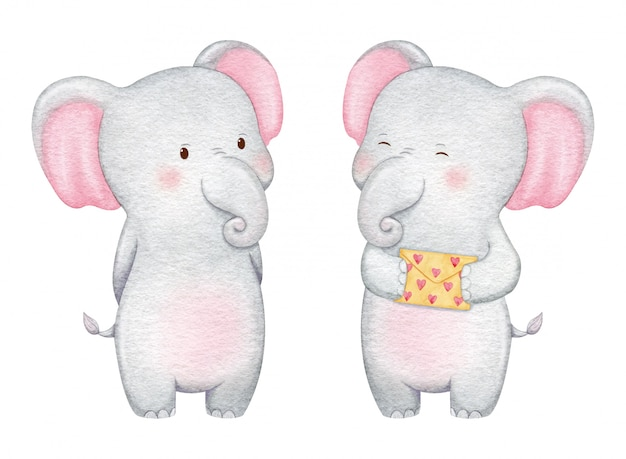Cute elephant character in love. hand painted watercolor illustration