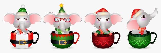 帽子とかわいい象のクリスマスキャラクターコレクション Premiumベクター