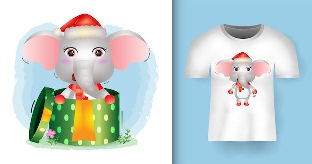 티셔츠 디자인으로 선물 상자에 산타 모자와 스카프를 사용하는 귀여운 코끼리 크리스마스 캐릭터