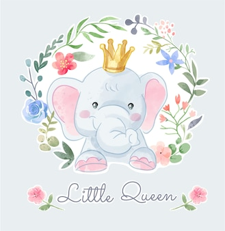 Cute elephant crown in colorful flower illustration