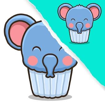 かわいい象のカップケーキ、動物のキャラクターデザイン。