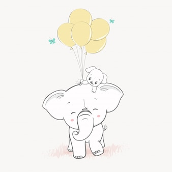 Cute elephant and cute dog with balloons