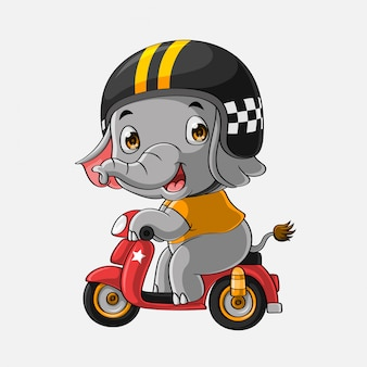 Cute elephant drive motorcycle hand drawn