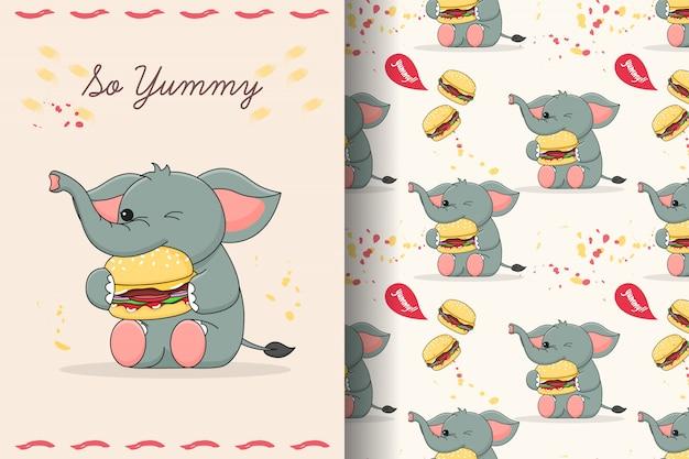 햄버거 원활한 패턴 및 카드를 먹는 귀여운 코끼리