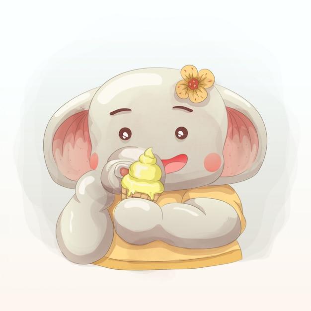Cute elephant enjoy ice cream