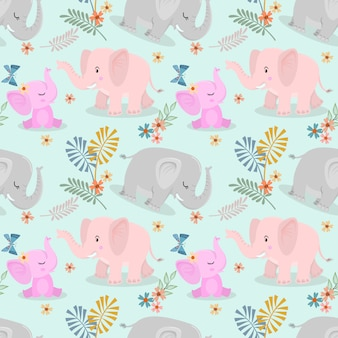 Cute elephant family and butterfly seamless pattern
