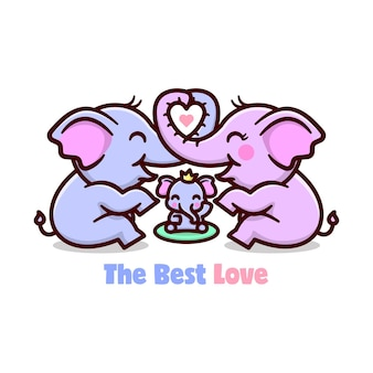 Cute elephant family sharing love. happy valentine day