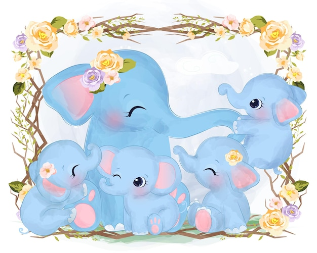 Cute elephant family in watercolor with flowers