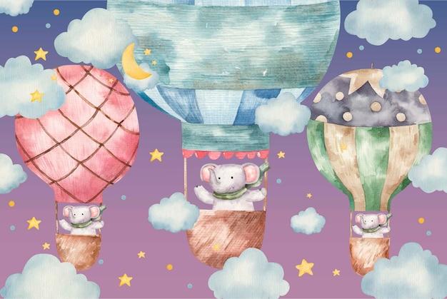 かわいい象は色の風船で飛ぶ、白い背景の上のかわいい赤ちゃんの水彩イラスト