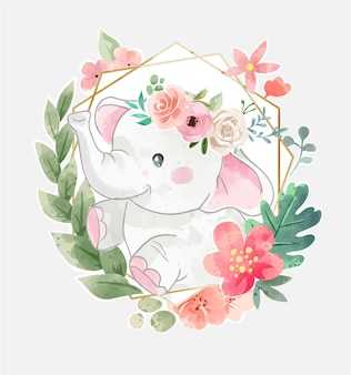 Cute elephant in floral crown and colorful flower wreath illustration