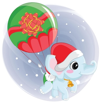 Милый слон летит на воздушном шаре рождества. графический элемент на рождество, детская книга, альбом, альбом для вырезок, открытка.