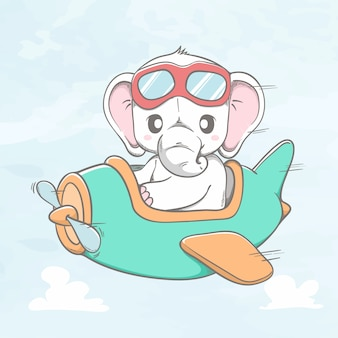 Cute Elephant Flying A Plane Cartoon Hand Drawn Premium Vector