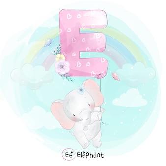 Cute elephant flying with alphabet-e balloon