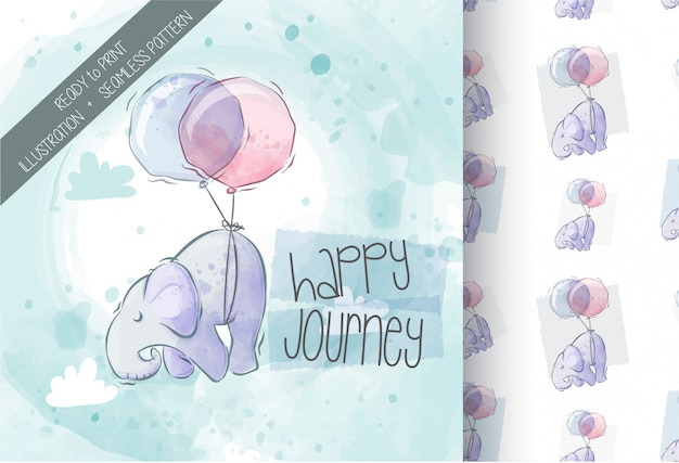 Cute elephant flying with balloon  illustration seamless pattern