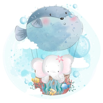 Cute elephant flying with fish balloon