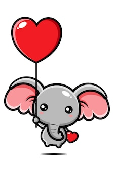 Cute elephant flying with a love balloon