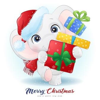 水彩イラストとクリスマスの日のかわいい象
