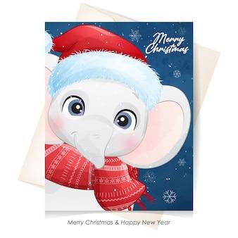 수채화 일러스트와 함께 크리스마스를위한 귀여운 코끼리