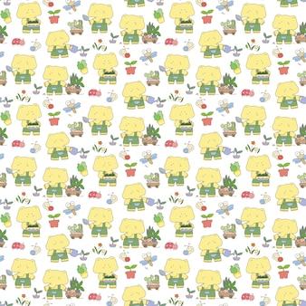 かわいい象の庭師のシームレスパターン