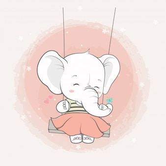 Cute elephant girl in the swing cartoon hand drawn