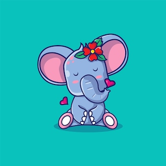 花の漫画イラストとかわいい象の女の子