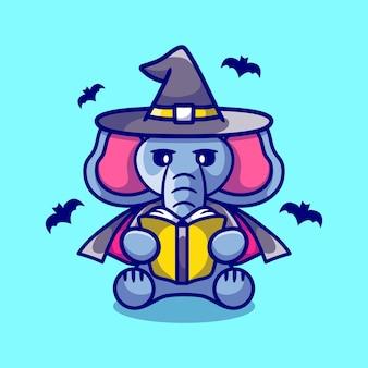本を読んでかわいい象のハロウィーンの魔女