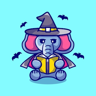 Cute elephant halloween witch reading a book