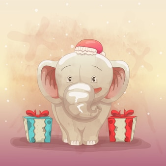 Cute elephant happy to get a christmas gift