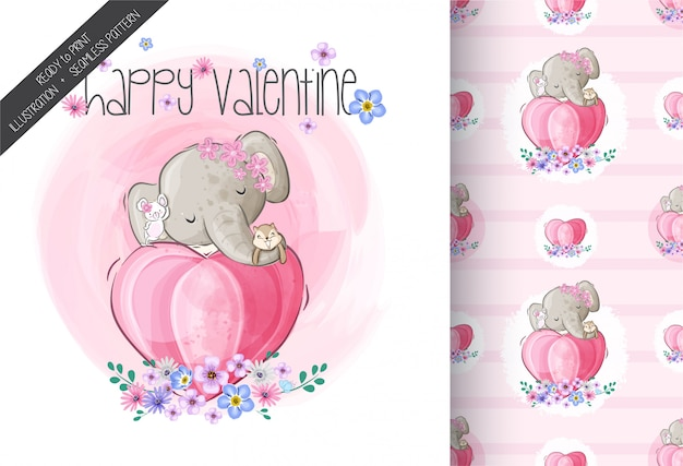 Cute elephant happy valentine illustration with seamless pattern