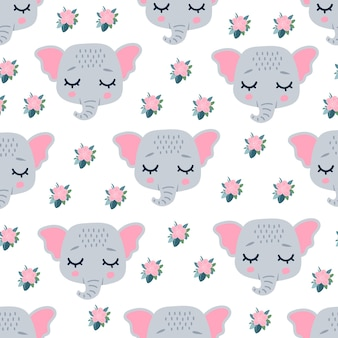 Cute elephant heads face with closed eyes for spring.