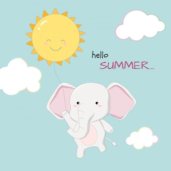 Cute elephant hello summer banner hand drawn style