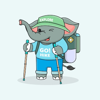 Cute elephant hiker