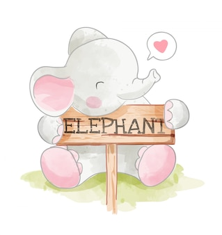 かわいい象hoding象の木製看板イラスト