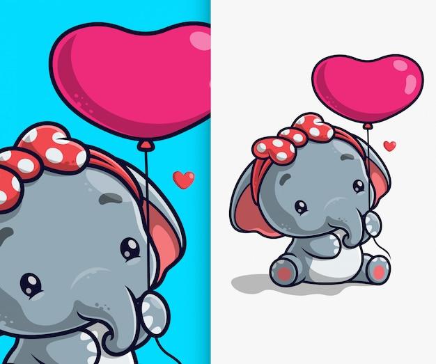 バルーンアイコンイラストを保持しているかわいい象。象のマスコットの漫画のキャラクター。