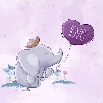 Cute elephant holding balloon