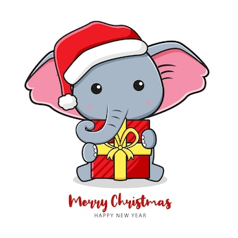 Cute elephant holding gift greeting merry christmas and happy new year cartoon doodle illustration