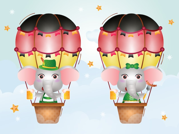 Cute elephant on hot air balloon with traditional oktoberfest dresso