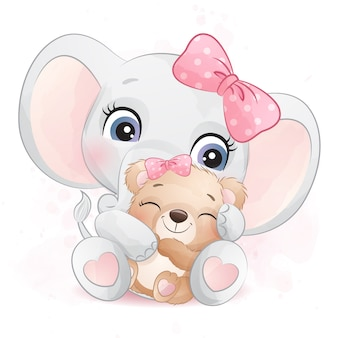 Cute elephant hugging a little bear illustration