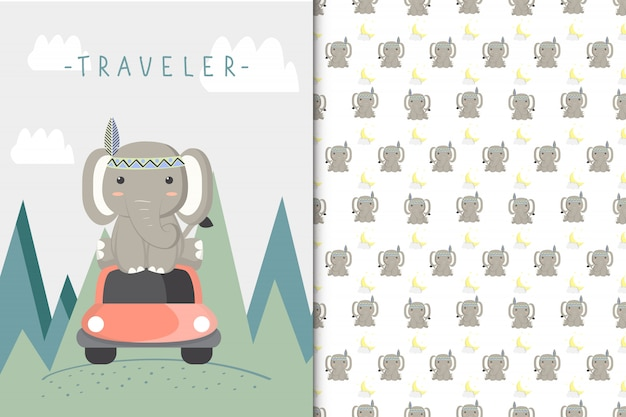 Cute elephant illustration and seamless pattern
