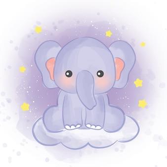 Милый слон в стиле акварели.