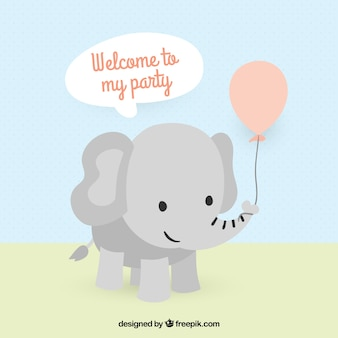 Cute elephant invitation for birthday party