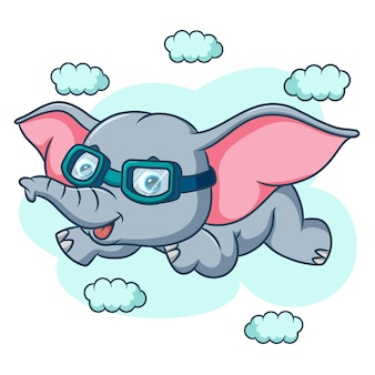 The cute elephant is flying on sky of illustration