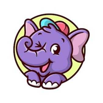 Cute elephant is smiling and wearing a cap cartoon mascot