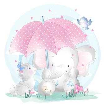 Cute elephant and kitty